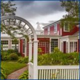 white arbour red house