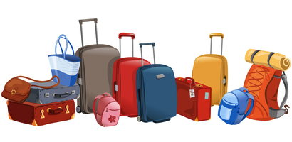 assorted carry-on bags