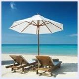 beautiful beach and white umbrella