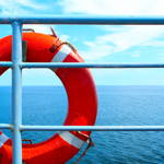 blue ship rail and red lifesaver