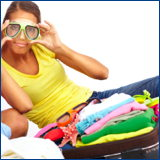 girl wearing snorkel mask and packing