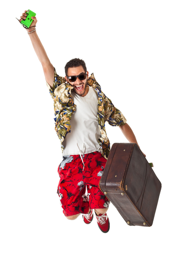 ecstatic man leaving on vacation