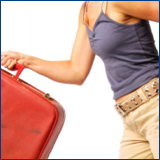 woman on the go with suitcase