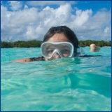woman wearing snorkel mask
