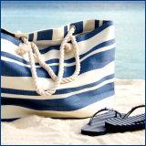 navy striped beach bag