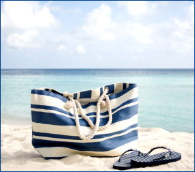 striped bag on beach