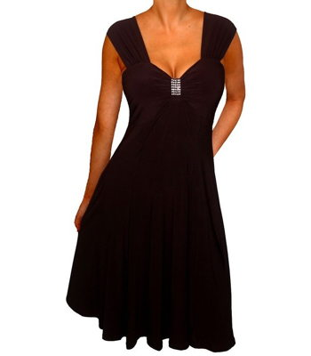 beautiful black travel dress with a little bling for a curvy figure