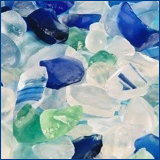 blue and white sea glass