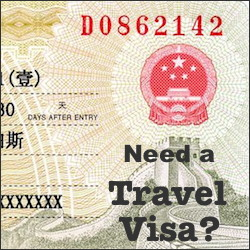 Close up of Chinese travel visa