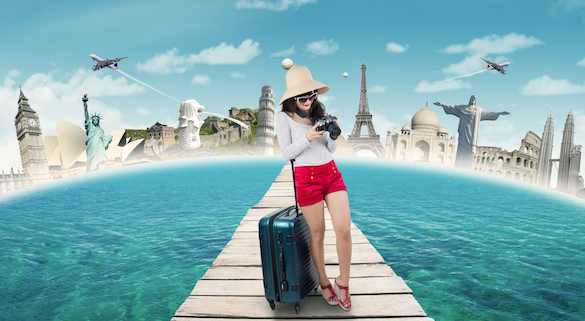 young woman traveler with fabulous destinations in the background