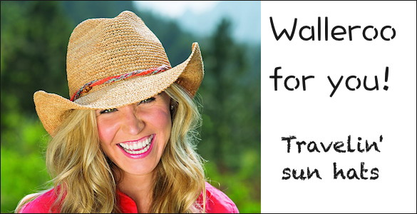Woman wearing Wallaroo packable sun hat