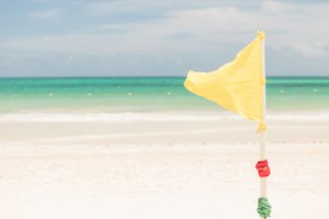 yellow beach warning flag