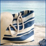 beach bag, hat, flipflops