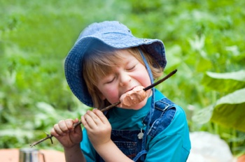 kid eating sausage from stick