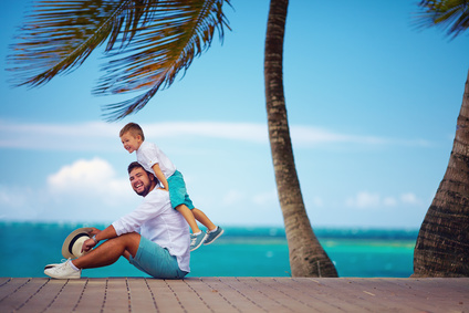 man and son on vacation