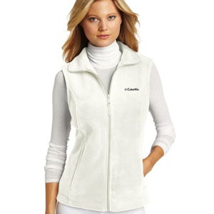 white fleece travel vest