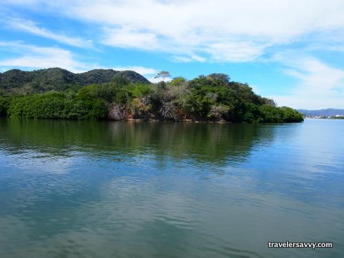 anchored near the mangrove island in the lagoon