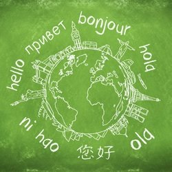 chalk board with earth and different languages
