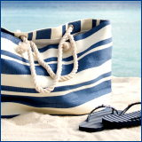 navy striped beach bag