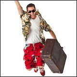 ecstatic man with suitcase going on vacation