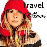 woman wearing red travel pillow hoodie