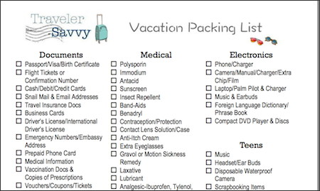 vacation packing checklist